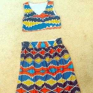 Two piece crop skirt set